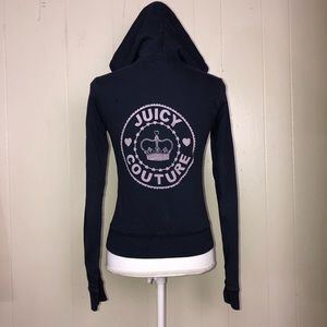 Juicy couture navy blue / pink hoodie sm crown